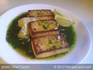 Broiled Tofu With Cilantro Pesto