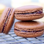 Chocolate Macarons with Raspberry Jam