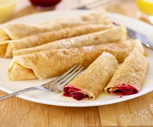 Raspberry Crepes with Creamy Orange Syrup