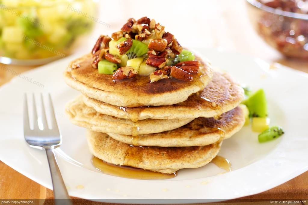 Whole Wheat Pancakes with Maple Candied Pecans and Tropical Fruit ...