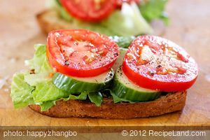 Tomato, Cucumber and Lettuce Sandwich