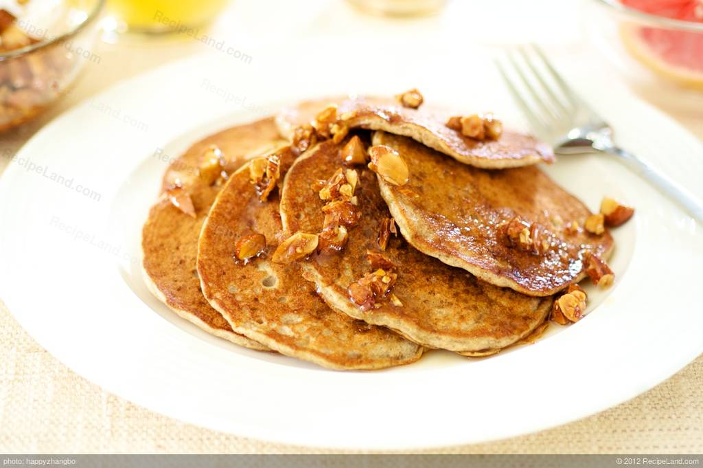 Banana Soy Milk Pancakes with Maple-Almonds Recipe