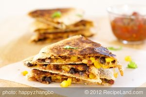 Cheesy Black Bean and Corn Quesadillas