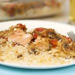 Baked Dilled Salmon on Rice