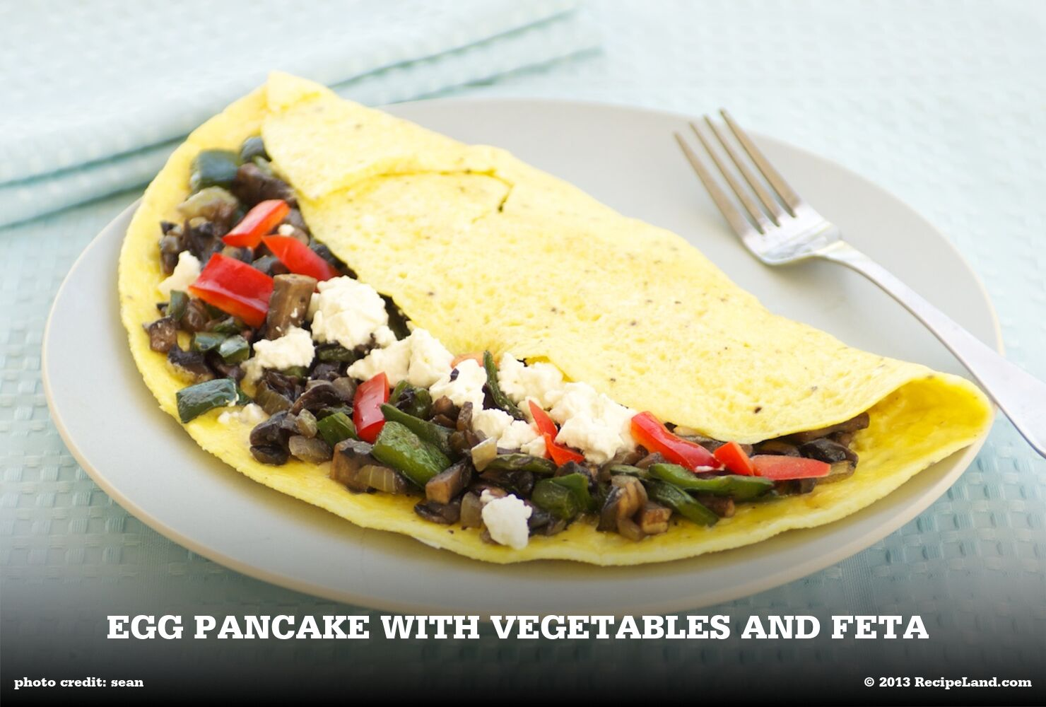 Egg Pancake with Vegetables and Feta
