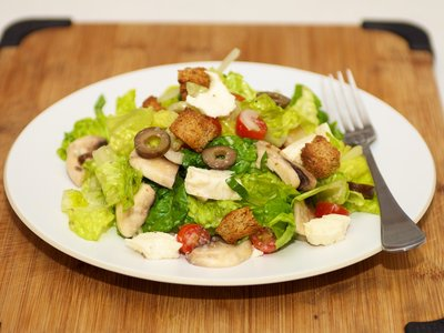 Cherry Tomato and Lettuce Salad with Fresh Mozzarella and Croutons