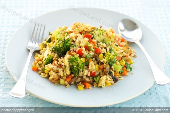 Broccoli, Sweet Bell Pepper and Mushroom Fried Rice