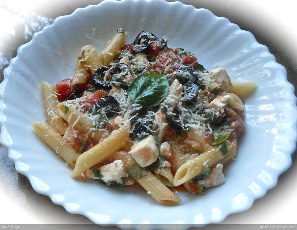 Penne with Tomato, Black Olive and Feta Recipe