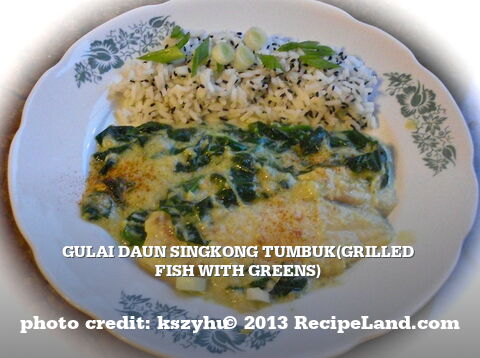 Gulai Daun Singkong Tumbuk(Grilled Fish with Greens)