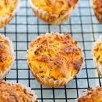 Whole Wheat Cheesy Bacon Muffins