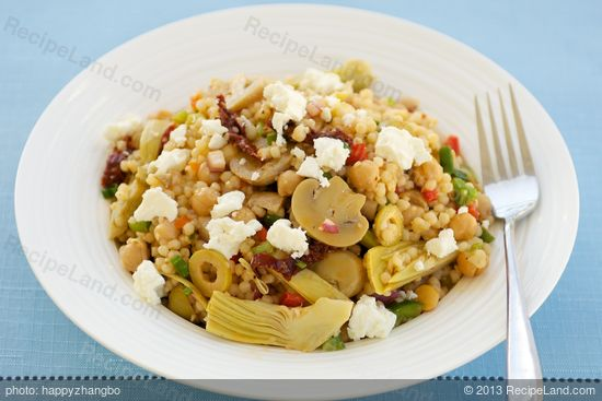 Chickpea, Marinated Artichoke Hearts, Mushrooms, and Sun-Dried Tomato Couscous Salad with Feta