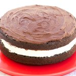 Moist Chocolate Cake With Marshmallow Cream and Chocolate Frosting
