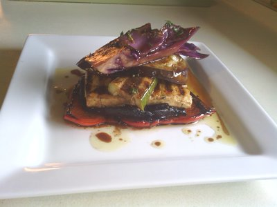 Vegan Grilled Veggie And Tofu Stack With Balsamic And Mint