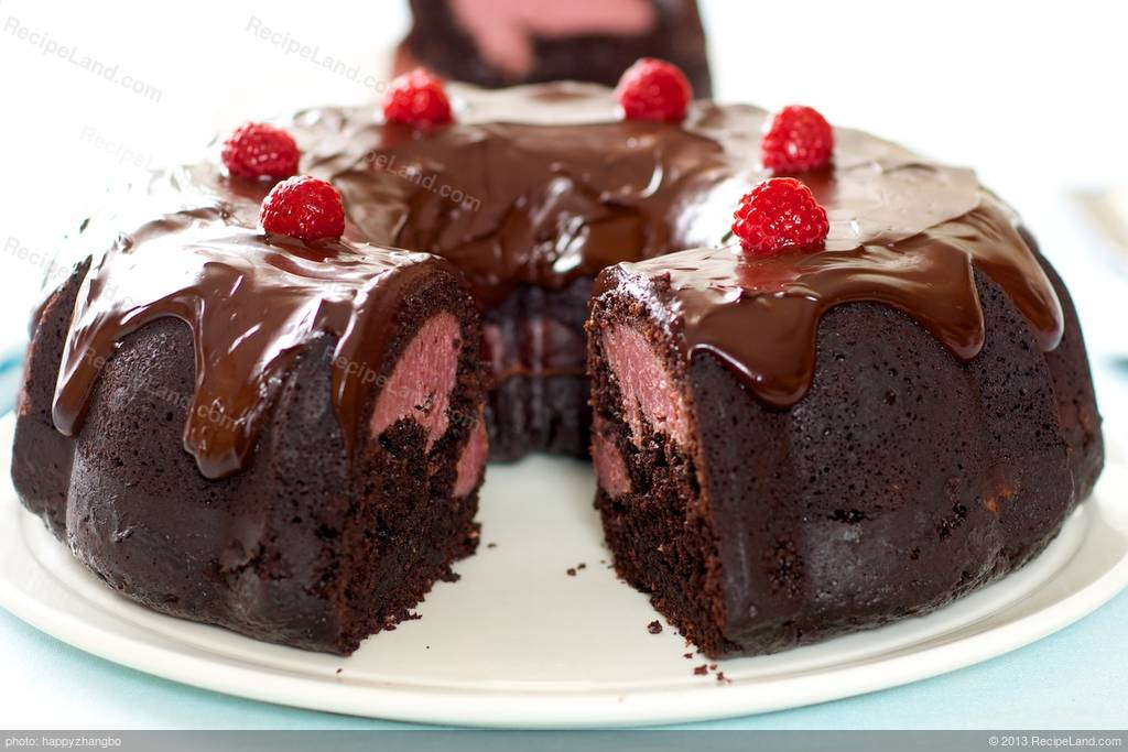 Chocolate Fudge Bundt Cake With Raspberry Cream Cheese Filling And