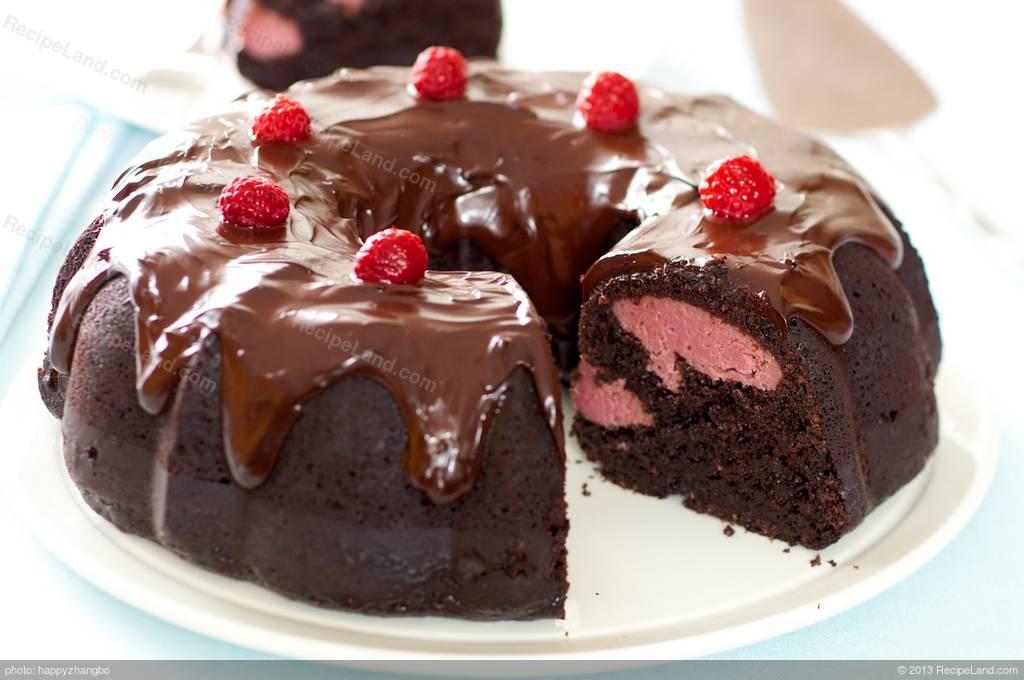 Chocolate Fudge Bundt Cake With Raspberry Cream Cheese