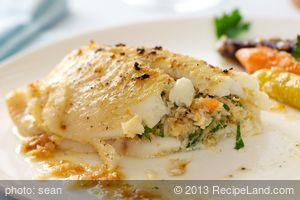Dover Sole Fillets Stuffed with Crab