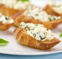 Basil Goat Cheese Crostini