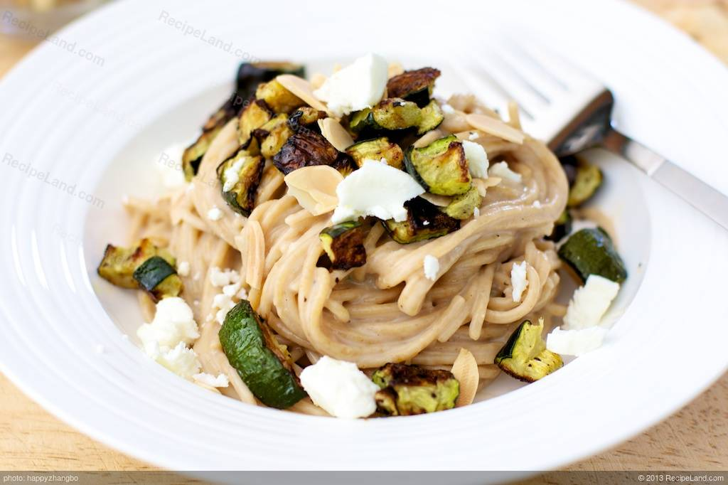 Creamy Pasta With Roasted Zucchini, Almond and Basil Recipe