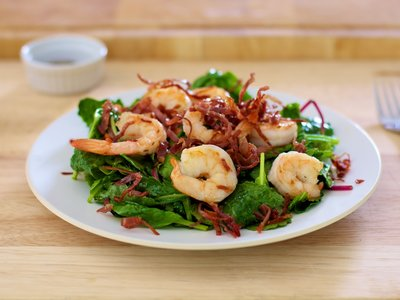 Salad Greens with Prosciutto and Shrimp