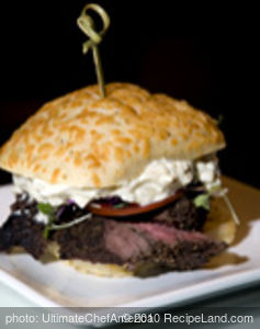 Peppercorn Beef Tenderloin with Gorgonzola and Chive Mousse