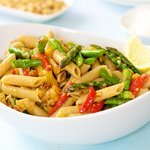 Lemon Pasta with Asparagus and Pine Nuts