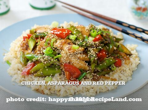 Chicken, Asparagus and Red Pepper