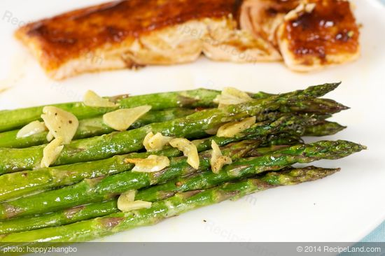 Garlicky Roasted Asparagus with Lemon Mustard Dressing recipe