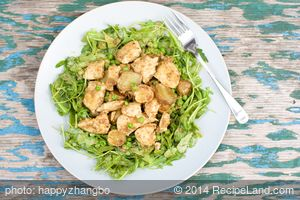 Mâche and Chicken Salad with Honey Tahini Dressing