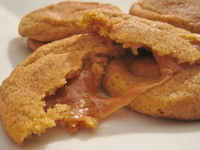 Caramel-Stuffed Pumpkin Cookies