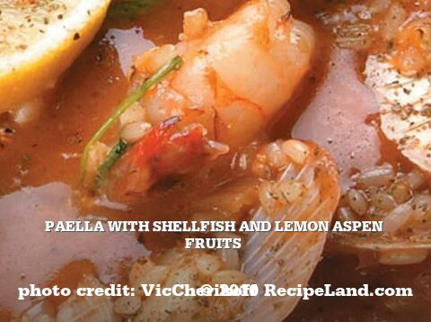 Paella with Shellfish and Lemon Aspen Fruits