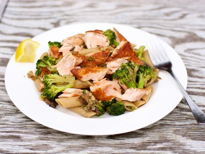Salmon, Broccoli, and Mushroom Pasta
