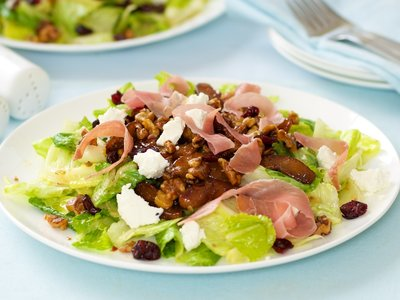 Caramelized Pears, Maple Walnuts Salad with Prosciutto and Goat Cheese