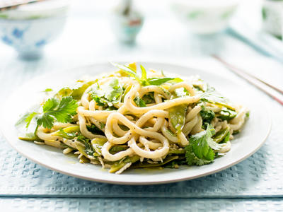 Lemon-Pepper Glazed Udon Noodles with Snow Peas and Coconut