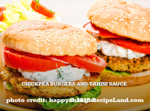 Chickpea Burgers and Tahini Sauce