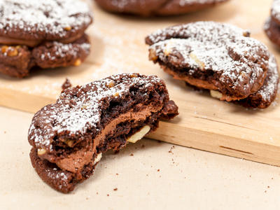 Double-Chocolate, Chocolate Chip Sandwich Cookies