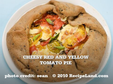 Cheesy Red and Yellow Tomato Pie