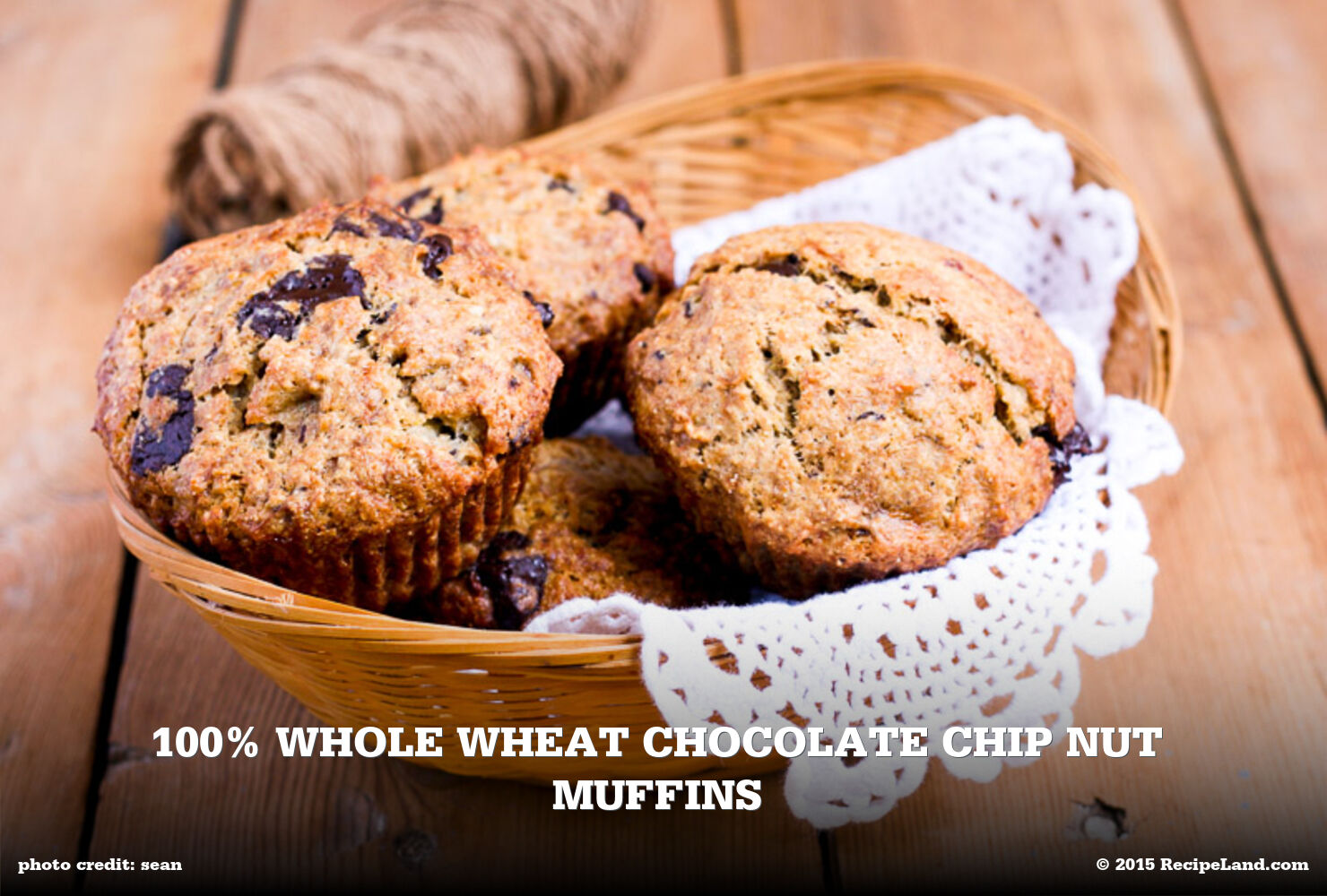 100% Whole Wheat Chocolate Chip Nut Muffins