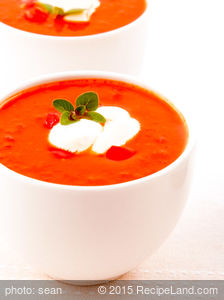 Augusta's Chilled Tomato Soup with Basil Cream