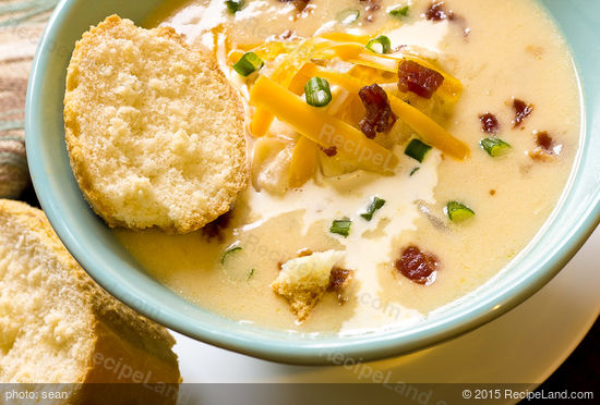 Creamy Baked Potato Soup with Bacon and Cheddar