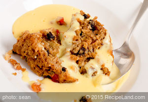 Christmas Pudding With Vanilla-Bean Custard