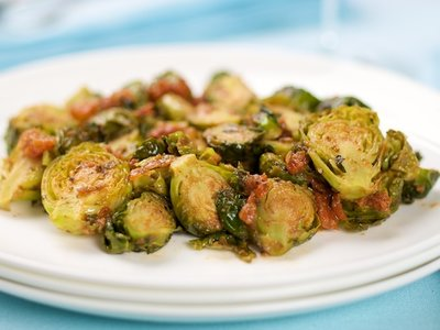 Roasted Brussels Sprouts with Sun-Dried Tomato Pesto