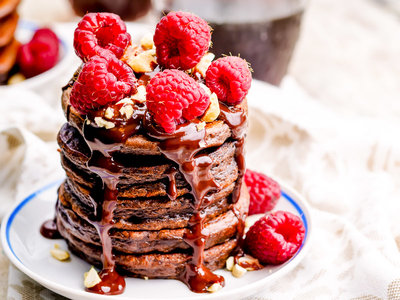 Chocolate Pancakes with Chocolate-Raspberry Sauce