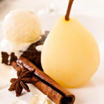 Oven Poached Pears in Wine
