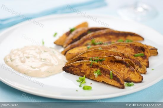 Roasted Sweet Potato Wedges with Smoked Chipotle Cream