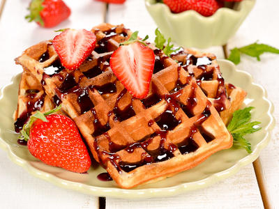 Tasty Waffles with Mocha Mix