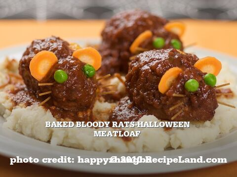 Baked Bloody Rats-Halloween Meatloaf