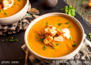 Cheesy Roasted Pear, Butternut and Leek Soup