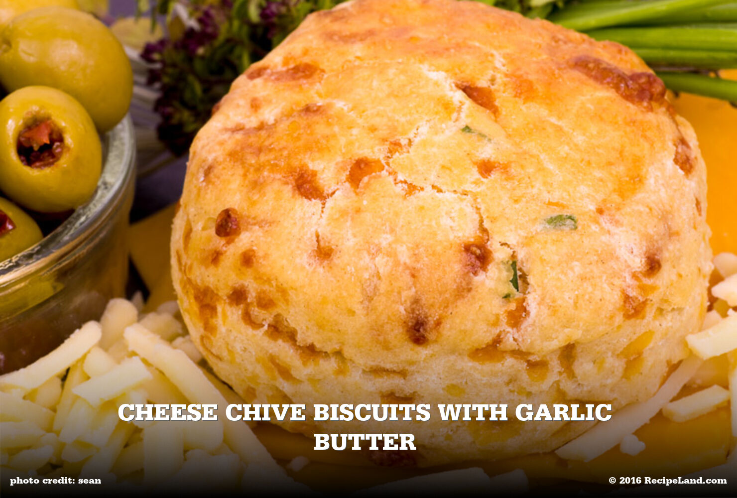 Cheese Chive Biscuits with Garlic Butter