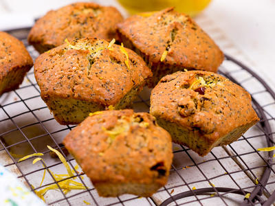 Almost Whole Wheat Lemon Poppyseed Muffins