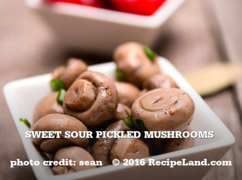 Sweet Sour Pickled Mushrooms